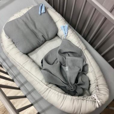 Szary lniany kokon dla noworodka