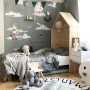 Naklejki na ścianę do pokoju dziecka. Okręty, wieloryby, chmury.