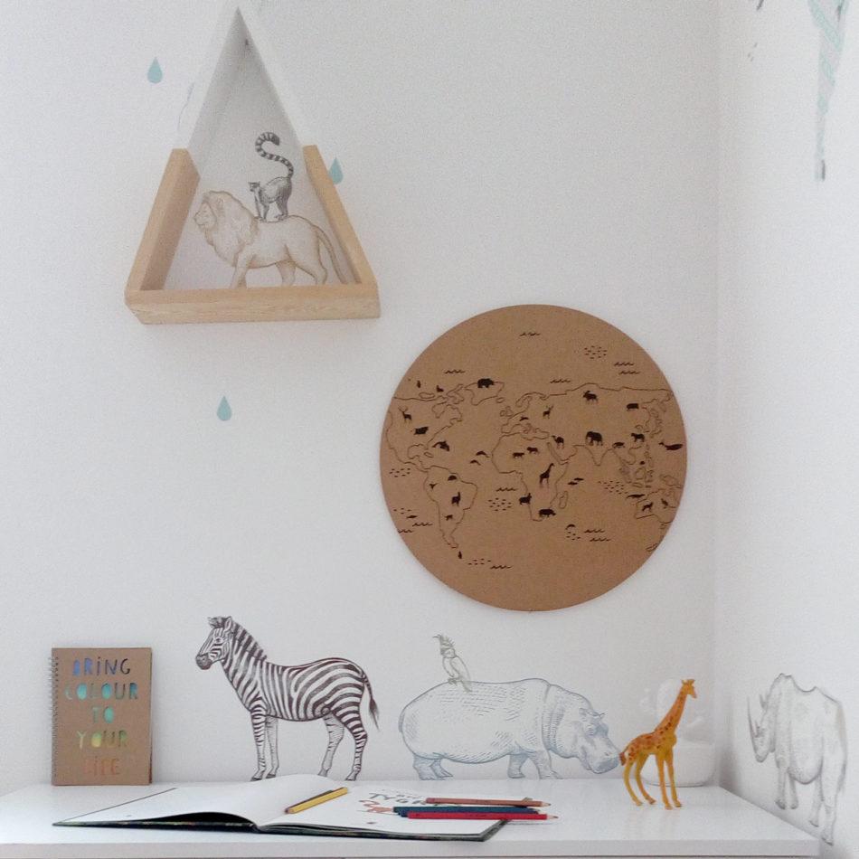 Naklejki na ścianę do pokoju dziecka-zwierzęta z Afryki- żyrafa, słoń, nosorożec, hipopotam,, lew..