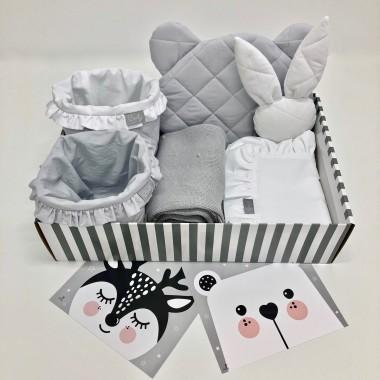 Zestaw na prezent z okazji narodzin dziecka lub na baby shower-biało szary