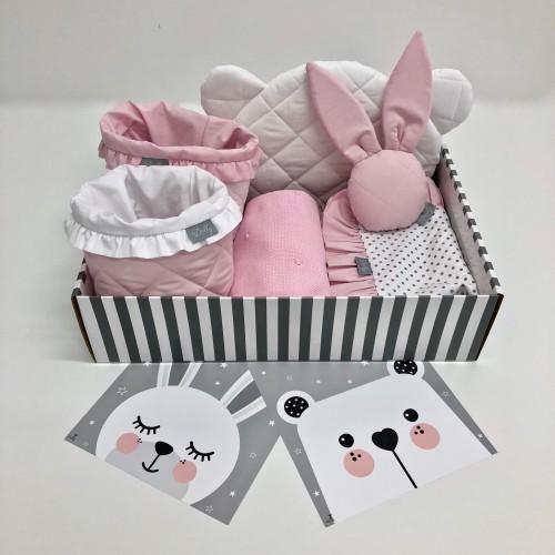 Różowo-biały zestaw prezentowy-idealny prezent na babyshower/ z okazji narodzin dziecka