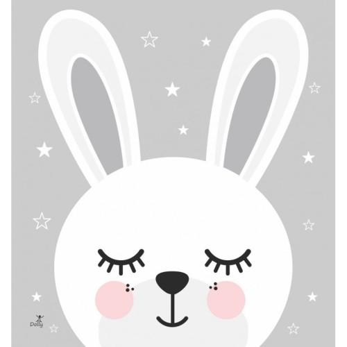 Szary plakat do pokoju dziecka z białym króliczkiem