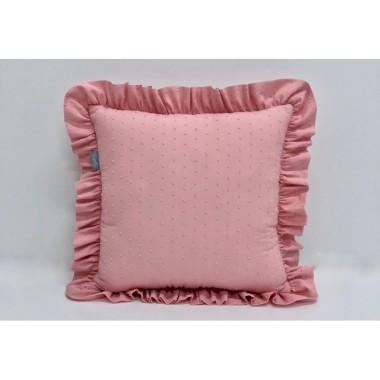 Ozdobna poduszka z falbanką -plumeti róż. Pokój dziewczynki