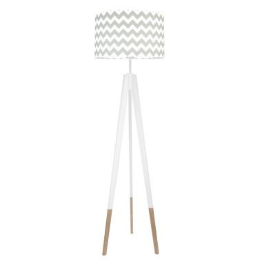 youngDECO lampa podłogowa trójnóg biały w skarpetkach chevron szary