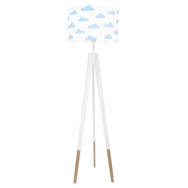 youngDECO lampa podłogowa trójnóg biały w skarpetkach chmurki błękitne
