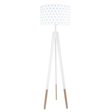 youngDECO lampa podłogowa trójnóg biały w skarpetkach gwiazdki błękitne
