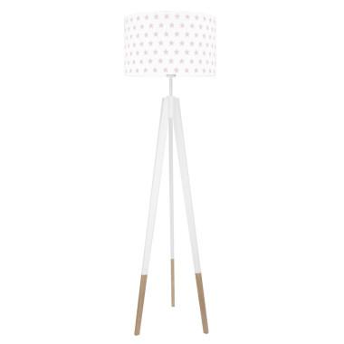 youngDECO lampa podłogowa trójnóg biały w skarpetkach gwiazdki różowe