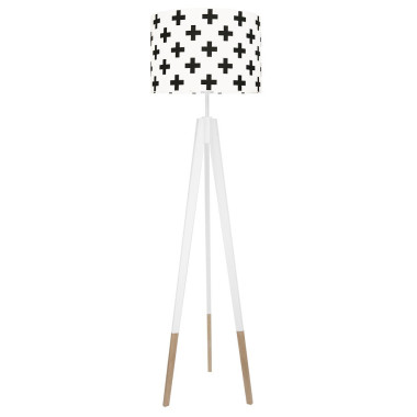 youngDECO lampa podłogowa trójnóg biały w skarpetkach krzyżki czarne
