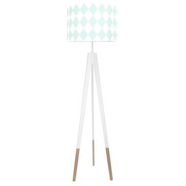 youngDECO lampa podłogowa trójnóg biały w skarpetkach romby miętowe