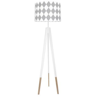 youngDECO lampa podłogowa trójnóg biały w skarpetkach romby szare