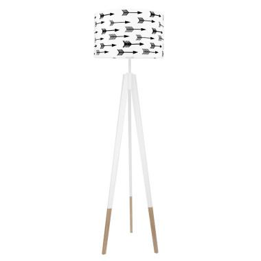 youngDECO lampa podłogowa trójnóg biały w skarpetkach strzałki czarne