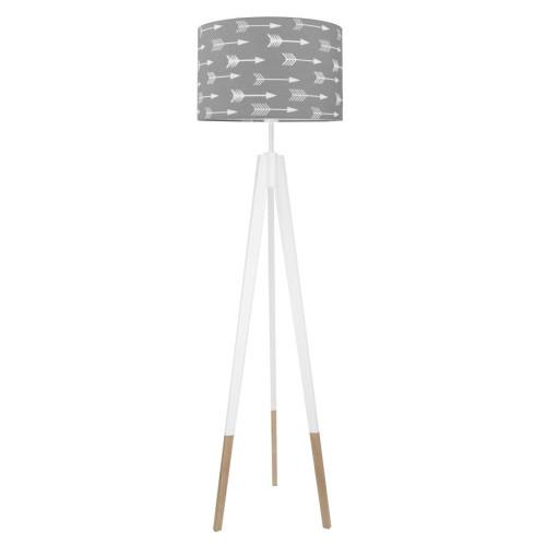 youngDECO lampa podłogowa trójnóg biały w skarpetkach strzałki na szarym