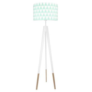 youngDECO lampa podłogowa trójnóg biały w skarpetkach trójkąty miętowe