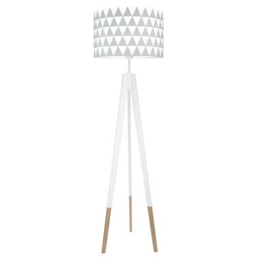 youngDECO lampa podłogowa trójnóg biały w skarpetkach trójkąty szare
