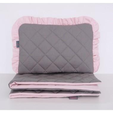 Zestaw pikowanej pościeli do wózka, kołyski lub łóżeczka dziecięcego -grafitowy z różową falbanką