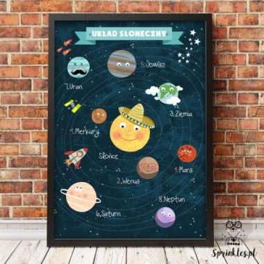 Plakat edukacyjny z układem słonecznym-rmiętowy napis