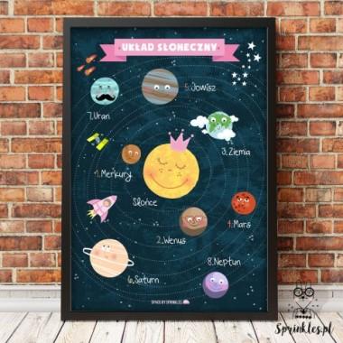 Plakat edukacyjny z układem słonecznym-różowy napis