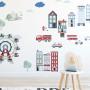 Zestaw naklejek na ścianę do pokoju dziecka przedstawiający życie w mieście-straż, domki, drzewa, policja, budowa