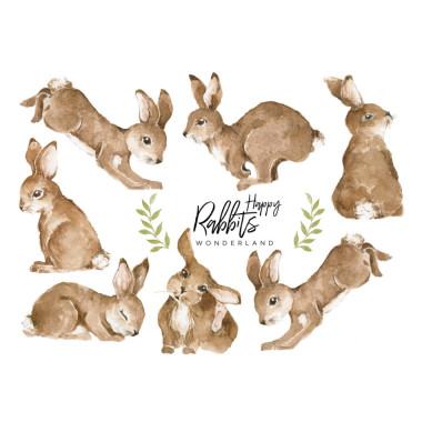 Naklejki na ścianę do pokoju dziecięcego z motywem zwierzątek - króliczków