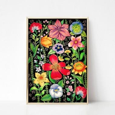 Plakat na ścianę z kolorowymi kwiatami na czarnym tle