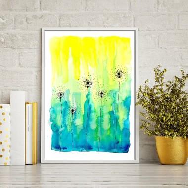 Plakat na ścianę z kwiatami-łąka zółto-niebieska