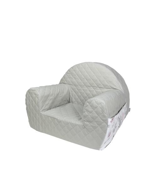Miękki, wygodny fotelik dla dziecka do pokoju, szary w kwiaty magnolii