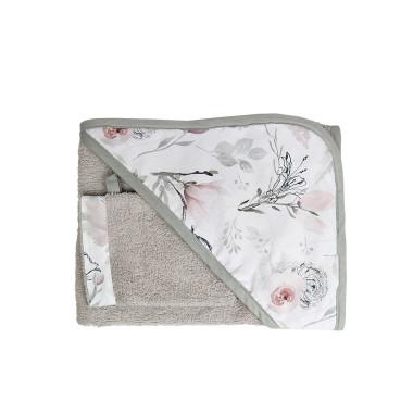 Miękkie, przyjemne okrycie kąpielowe w komplecie z myjką, szare w kwiaty magnolii