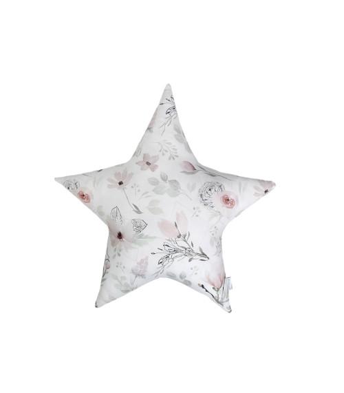 Pikowana poduszka ozdobna w kształcie gwiazdy w kwiaty magnolii