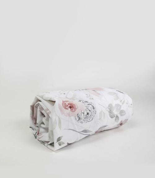 Bawełniane białe prześcieradło dziecięce w kwiaty magnolii