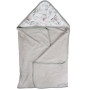 Duży, miękki, szary ręcznik kąpielowy z kapturem w kwiaty magnolii