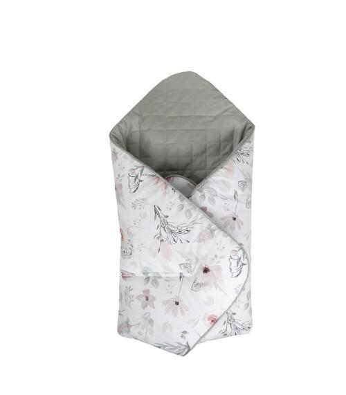 Dwustronny, miękki, pikowany kocyk/rożek dziecięcy w kwiaty magnolii