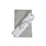 Dwustronny,szary komplet do wózka: wkład, poduszka stabilizująca i ochraniacz na pasy w kwiaty magnolii