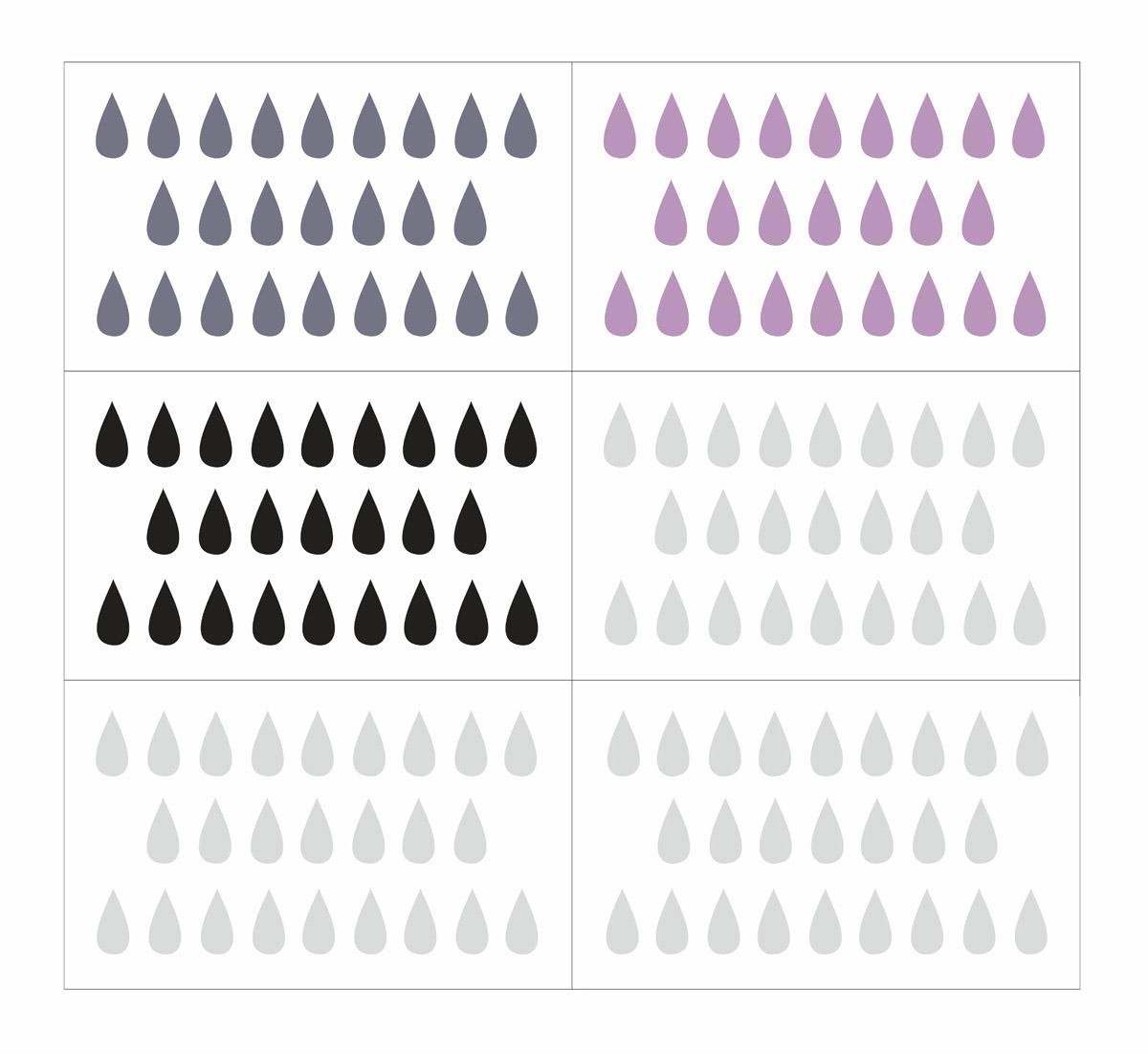Naklejki ścienne do pokoju dziecka KROPLE szary czarny lila