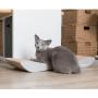 Płaski szary drapak dla kota z tektury falistej-idealnny na parapet. Designerski i elegancki