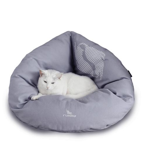 EMI -puchowe, miękkie i wygodne posłanie dla kota-rozkładane-szare/siwe