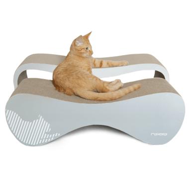 Elegncki/designerski drapak dla kota z tektury falistej- siwy/szary
