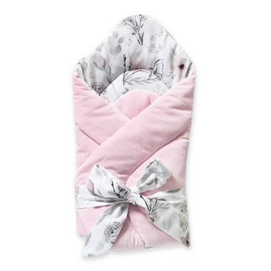 Rożek niemowlęcy Zimowe Kwiaty-różowy z kwiatami