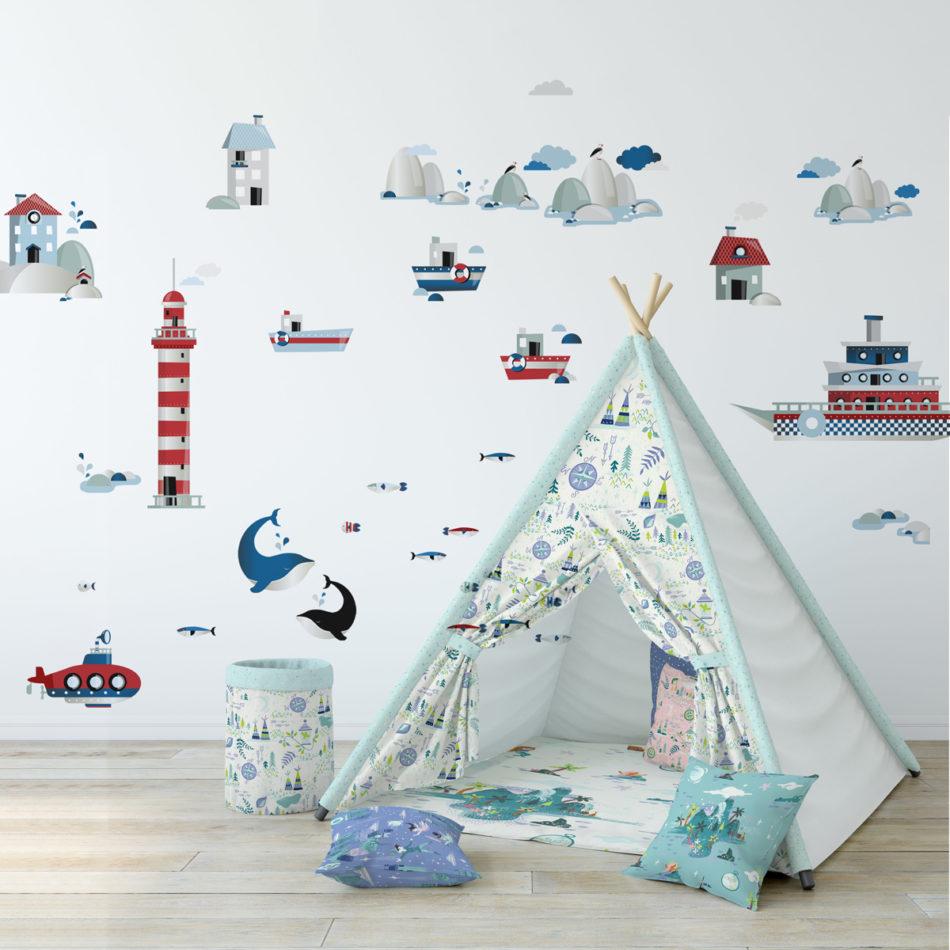 Zestaw naklejek do pokoju chłopca lub dziewczynki-pokój w stylu marynarskim
