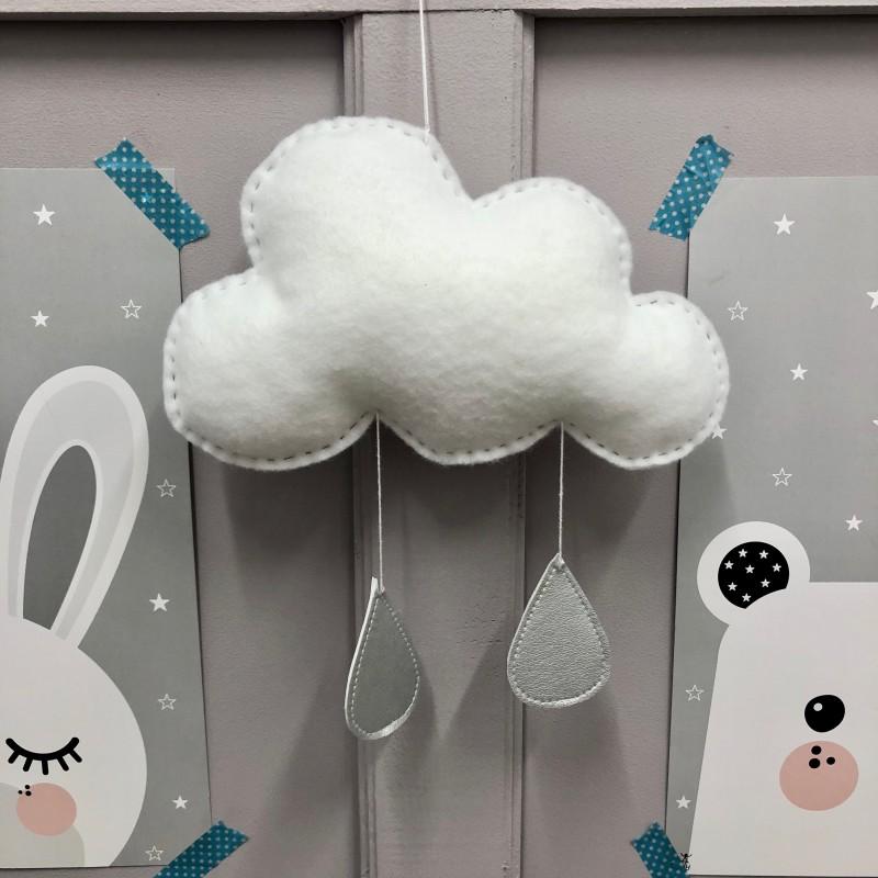 Zawieszka/ girlanda chmurka do pokoju dziecka-wykonana z fiilcu.