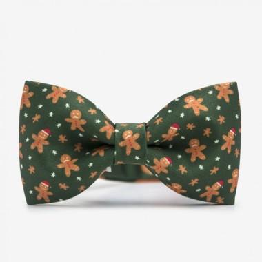 Zielona męska mucha na szyję ze świątecznym wzorem. Idealny pomysł na prezent pod choinkę dla mężczyzny. Na wigilię dla mężczyzny.
