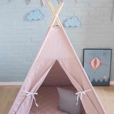 Namiot Różowa Lekkość z bawełny w kolorze brudnego różu. Charakteryzuje się okienkiem i zasłonką w kolorze brudnego różu. Prezent dla dziecka.