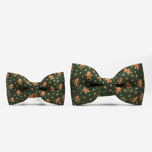 Zielona mucha na szyję ze świątecznym wzorem. Idealny pomysł na prezent pod choinkę dla mężczyzny. Na wigilię dla mężczyzny.