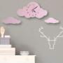 Zegar do pokoju dziecka-chmurka róż