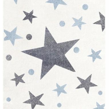Piękny kremowy dywan do pokoju dziecka w szare i niebieskie gwiazdki.