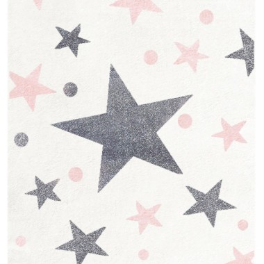 Przepiekny KREMOWY dywan dziecięcy W RÓŻOWO-SZARE GWIAZDKI nada niepowtarzalnego charakteryu każdemu pokoikowi dziecięcemu.