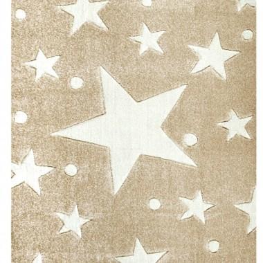 Przepiekny BEŻOWY dywan dziecięcy W BIAŁE GWIAZDKI nada niepowtarzalnego charakteryu każdemu pokoikowi dziecięcemu.