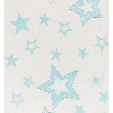 Dywan dla dzieci STARLIGHT zapewnia nowoczesne akcenty w pokoju zabaw dla dzieci. Biały w miętowe gwiazdki.