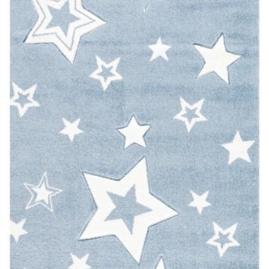 Dywan dla dzieci STARLIGHT zapewnia nowoczesne akcenty w pokoju zabaw dla dzieci. Niebieski w białe gwiazdki.