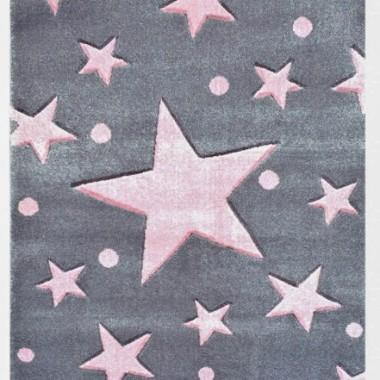 Przepiękny SZARY dywan dziecięcy W RÓŻOWE GWIAZDKI nada niepowtarzalnego charakteru każdemu pokoikowi dziecięcemu.