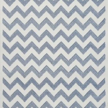 Przepiękny dywan dziecięcy niebieski w białe zygzaki nada niepowtarzalnego charakteru każdemu pokoikowi dziecięcemu.